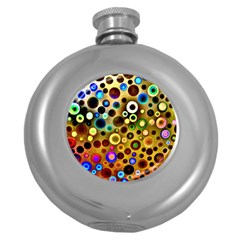 Colourful Circles Pattern Round Hip Flask (5 Oz) by Costasonlineshop