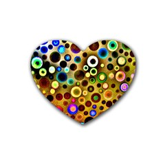 Colourful Circles Pattern Heart Coaster (4 Pack)  by Costasonlineshop