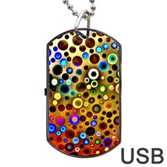Colourful Circles Pattern Dog Tag Usb Flash (two Sides)  by Costasonlineshop