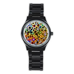Colourful Circles Pattern Stainless Steel Round Watches by Costasonlineshop