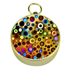 Colourful Circles Pattern Gold Compasses by Costasonlineshop