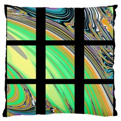 Black Window With Colorful Tiles Large Flano Cushion Cases (one Side)  by theunrulyartist