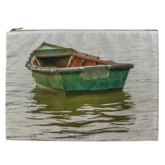 Old Fishing Boat At Santa Lucia River In Montevideo Cosmetic Bag (xxl)  by dflcprints