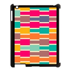 Connected Colorful Rectangles			apple Ipad 3/4 Case (black) by LalyLauraFLM