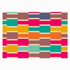 Connected Colorful Rectangleslarge Glasses Cloth by LalyLauraFLM