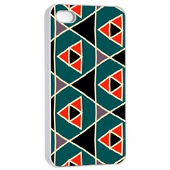 Triangles In Retro Colors Pattern			apple Iphone 4/4s Seamless Case (white) by LalyLauraFLM