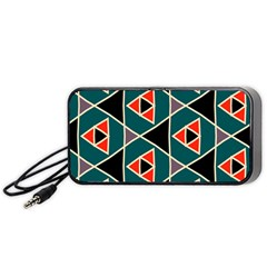 Triangles In Retro Colors Pattern Portable Speaker by LalyLauraFLM
