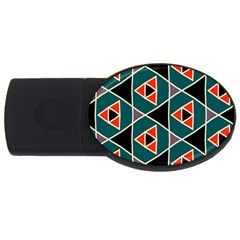 Triangles in retro colors patternUSB Flash Drive Oval (2 GB) by LalyLauraFLM