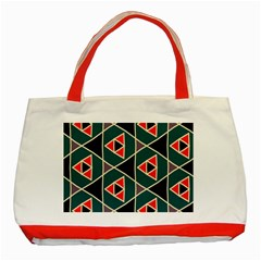Triangles in retro colors pattern			Classic Tote Bag (Red) by LalyLauraFLM
