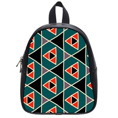 Triangles In Retro Colors Patternschool Bag (small) by LalyLauraFLM