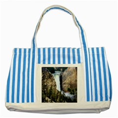 Yellowstone Waterfall Striped Blue Tote Bag  by trendistuff