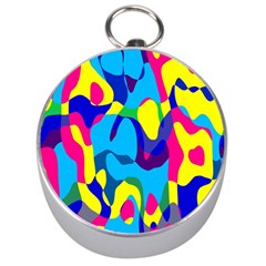 Colorful Chaos Silver Compass by LalyLauraFLM