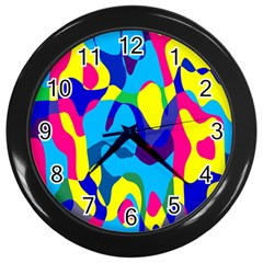 Colorful Chaoswall Clock (black) by LalyLauraFLM