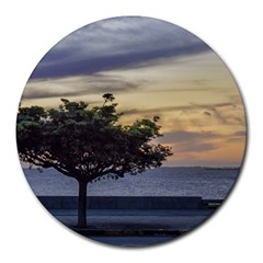 Sunset Scene At Boardwalk In Montevideo Uruguay Round Mousepads by dflcprints