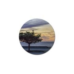 Sunset Scene At Boardwalk In Montevideo Uruguay Golf Ball Marker by dflcprints