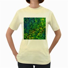 Flowers Abstract Yellow Green Women s Yellow T Shirt by Costasonlineshop