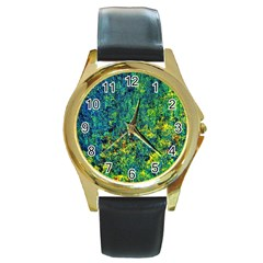 Flowers Abstract Yellow Green Round Gold Metal Watches by Costasonlineshop