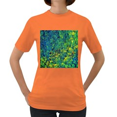Flowers Abstract Yellow Green Women s Dark T Shirt by Costasonlineshop