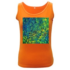 Flowers Abstract Yellow Green Women s Dark Tank Tops by Costasonlineshop