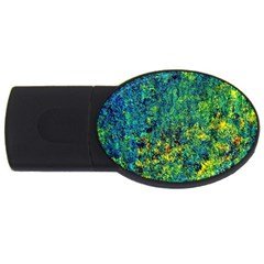 Flowers Abstract Yellow Green Usb Flash Drive Oval (4 Gb)  by Costasonlineshop