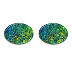 Flowers Abstract Yellow Green Cufflinks (oval) by Costasonlineshop