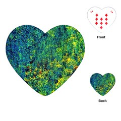 Flowers Abstract Yellow Green Playing Cards (heart)  by Costasonlineshop