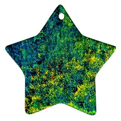 Flowers Abstract Yellow Green Star Ornament (two Sides)  by Costasonlineshop