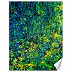 Flowers Abstract Yellow Green Canvas 18  X 24   by Costasonlineshop