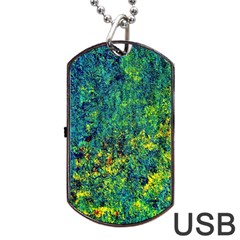Flowers Abstract Yellow Green Dog Tag Usb Flash (one Side) by Costasonlineshop