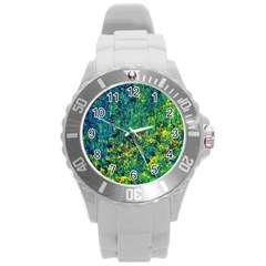 Flowers Abstract Yellow Green Round Plastic Sport Watch (l) by Costasonlineshop