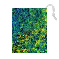 Flowers Abstract Yellow Green Drawstring Pouches (Extra Large) by Costasonlineshop