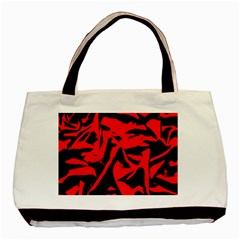 Red Black Retro Pattern Basic Tote Bag (Two Sides)  by Costasonlineshop