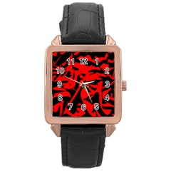 Red Black Retro Pattern Rose Gold Watches by Costasonlineshop