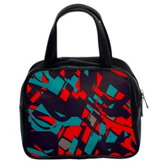 Red Blue Pieces Classic Handbag (two Sides) by LalyLauraFLM