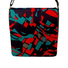 Red Blue Pieces			flap Closure Messenger Bag (l) by LalyLauraFLM