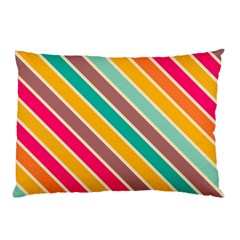 Colorful diagonal stripesPillow Case by LalyLauraFLM
