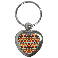 Honeycombs Triangles And Other Shapes Pattern			key Chain (heart) by LalyLauraFLM
