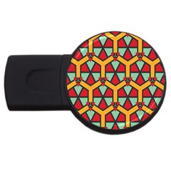 Honeycombs Triangles And Other Shapes Patternusb Flash Drive Round (4 Gb) by LalyLauraFLM
