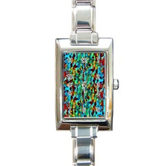 Turquoise Blue Green  Painting Pattern Rectangle Italian Charm Watches by Costasonlineshop