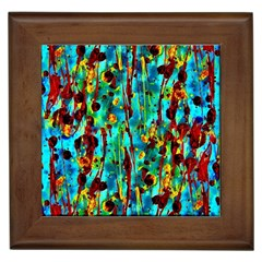 Turquoise Blue Green  Painting Pattern Framed Tiles by Costasonlineshop