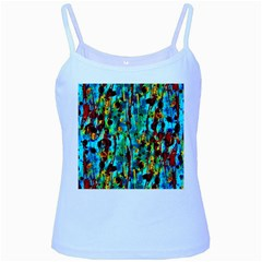 Turquoise Blue Green  Painting Pattern Baby Blue Spaghetti Tanks by Costasonlineshop
