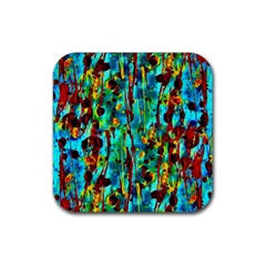 Turquoise Blue Green  Painting Pattern Rubber Square Coaster (4 Pack)  by Costasonlineshop