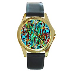 Turquoise Blue Green  Painting Pattern Round Gold Metal Watches by Costasonlineshop