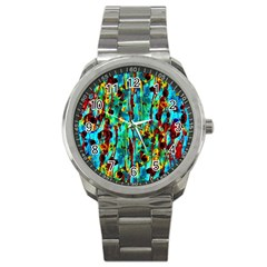 Turquoise Blue Green  Painting Pattern Sport Metal Watches by Costasonlineshop