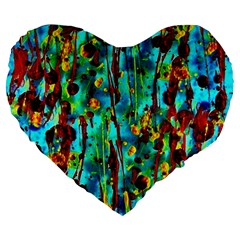 Turquoise Blue Green  Painting Pattern Large 19  Premium Heart Shape Cushions by Costasonlineshop