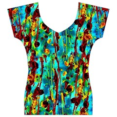 Turquoise Blue Green  Painting Pattern Women s V-Neck Cap Sleeve Top by Costasonlineshop