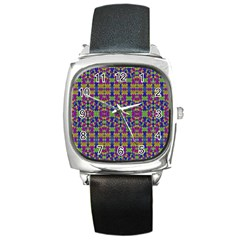 Ethnic Modern Geometric Pattern Square Metal Watches by dflcprints
