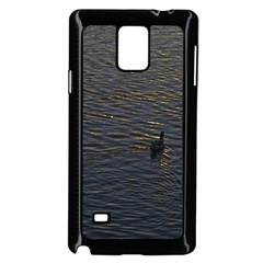 Lonely Duck Swimming At Lake At Sunset Time Samsung Galaxy Note 4 Case (black) by dflcprints