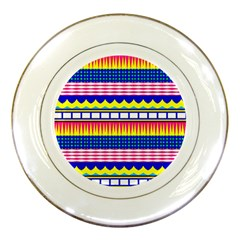 Rectangles Waves And Circles			porcelain Plate by LalyLauraFLM
