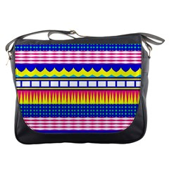 Rectangles Waves And Circles			messenger Bag by LalyLauraFLM